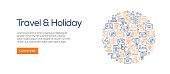 Travel and Holiday Banner Template with Line Icons. Modern vector illustration for Advertisement, Header, Website.