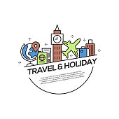 Travel and Holiday Concept Flat Line Icons