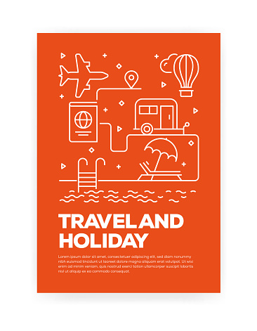 Travel and Holiday Concept Line Style Cover Design for Annual Report, Flyer, Brochure.