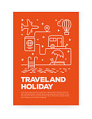 istock Travel and Holiday Concept Line Style Cover Design for Annual Report, Flyer, Brochure. 1130472177