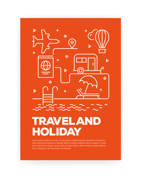 Travel and Holiday Concept Line Style Cover Design for Annual Report, Flyer, Brochure. Travel and Holiday Concept Line Style Cover Design for Annual Report, Flyer, Brochure. airport designs stock illustrations