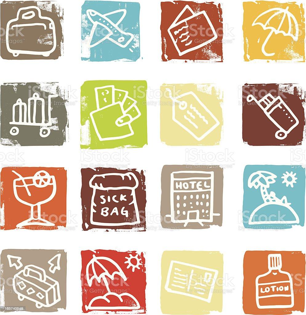 Travel and holiday icon blocks royalty-free stock vector art