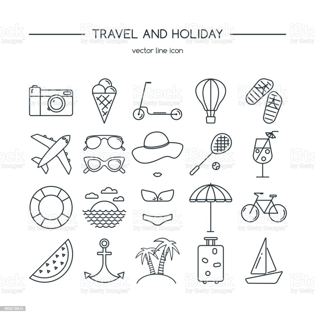 Travel and holiday icon set. Vector illustration. royalty-free travel and holiday icon set vector illustration stock vector art & more images of airplane