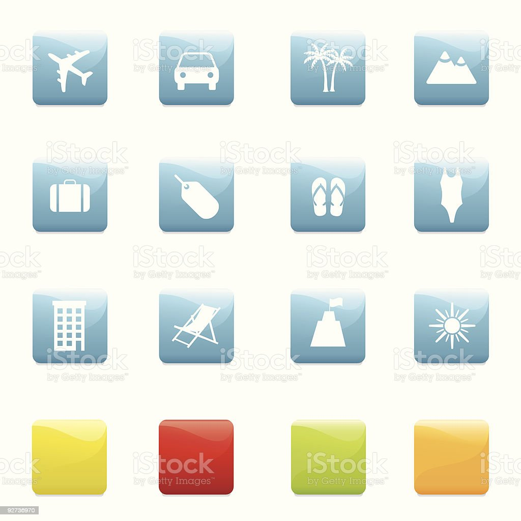 Travel and holiday icons Twelve travel/holiday theme icons in five different colours. Isolated on white with small shadow underneath each icon. Created in adobe illustrator, linear gradients used. Airplane stock vector