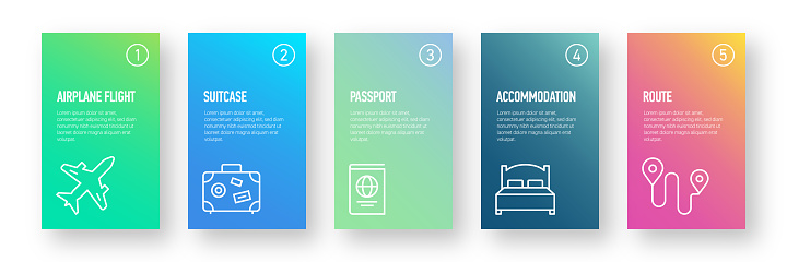 Travel and Holiday Infographic Design Template with Icons and 5 Options or Steps for Process diagram, Presentations, Workflow Layout, Banner, Flowchart, Infographic.