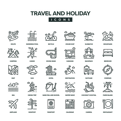 Travel And Holiday Line Icon Set