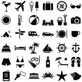 Travel and holiday icon collection - vector silhouette illustration