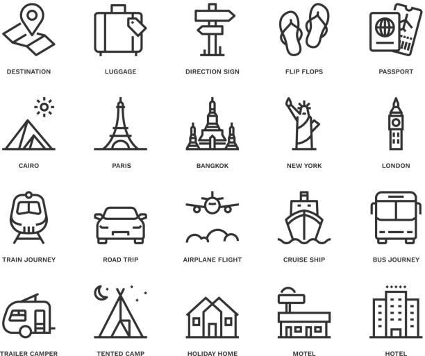 여행 및 휴일 아이콘, 모노 라인 개념. - 호텔 stock illustrations