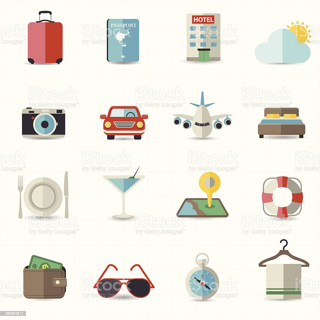 Travel and hotel holiday icons royalty-free stock vector art