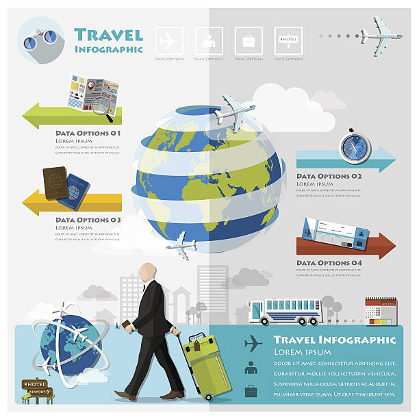 travel and journey business infographic - business travel stock illustrations, clip art, cartoons, & icons