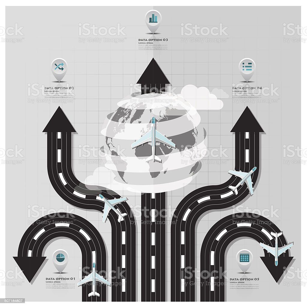 Travel And Journey Runway Business Infographic vector art illustration