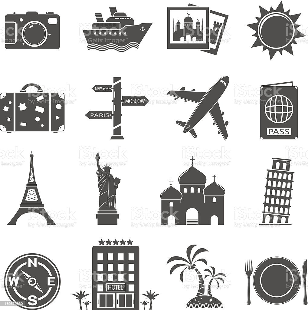Travel and landmarks icons set royalty-free stock vector art