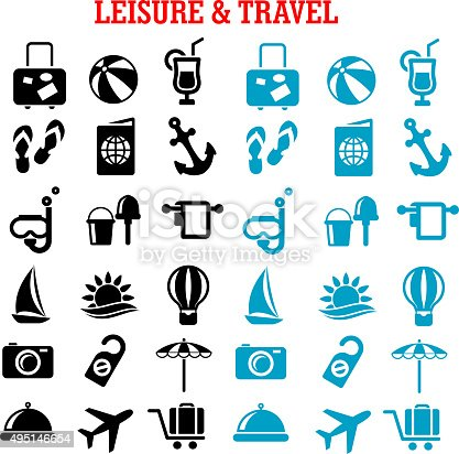 Travel and leisure flat icons set with airplane luggage passport sun sea hotel services sailboat anchor cocktail beach umbrella and toys, photo camera diving mask hot air balloon