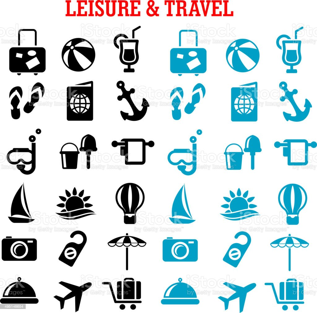Travel and leisure flat icons set vector art illustration