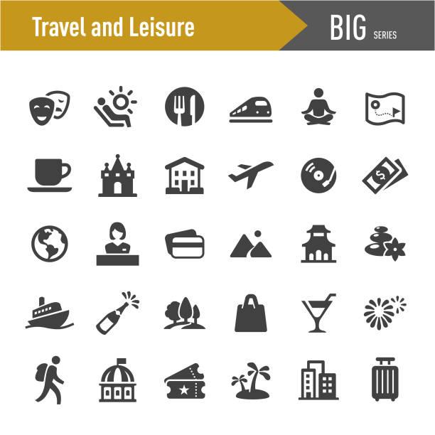 travel and leisure icons - big series - wypoczynek stock illustrations