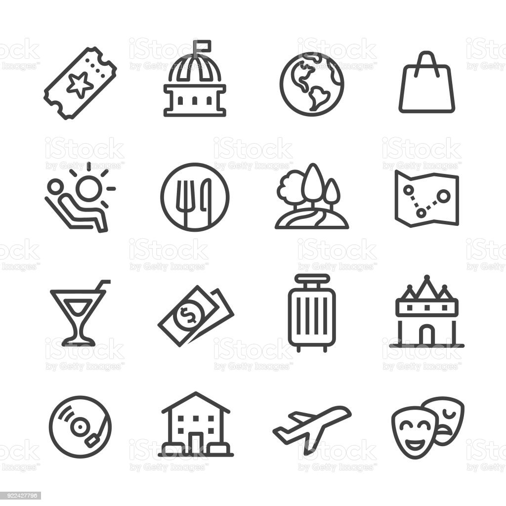 Travel and Leisure Icons - Line Series vector art illustration