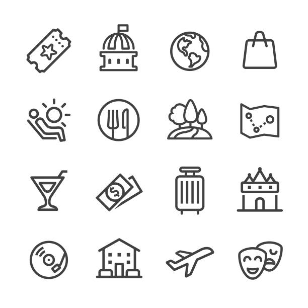 Travel and Leisure Icons - Line Series Travel, Leisure, hotel nightlife stock illustrations