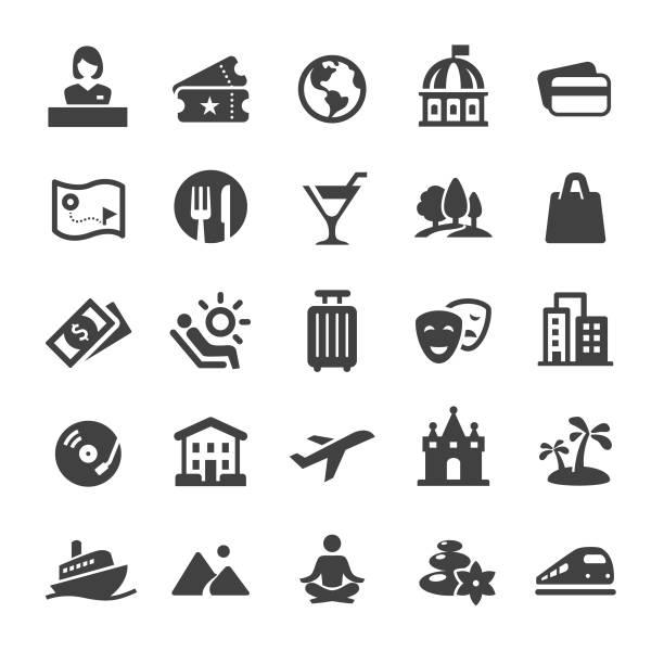 ikony podróży i wypoczynku - seria smart - bar lokal gastronomiczny stock illustrations