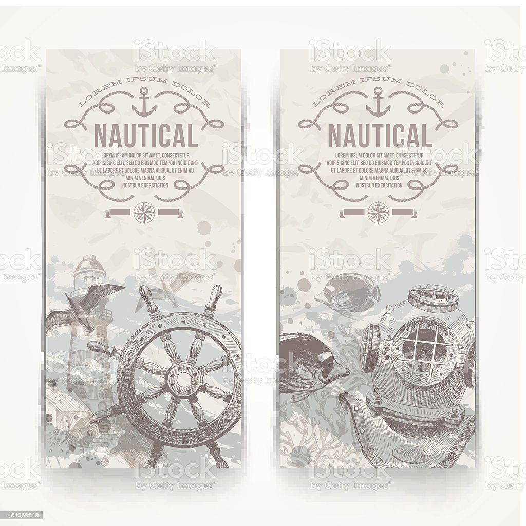 Travel and nautical - Vintage hand drawn vector banners vector art illustration
