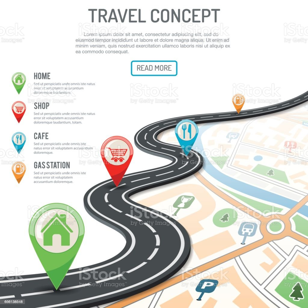 Travel and Navigation Concept vector art illustration