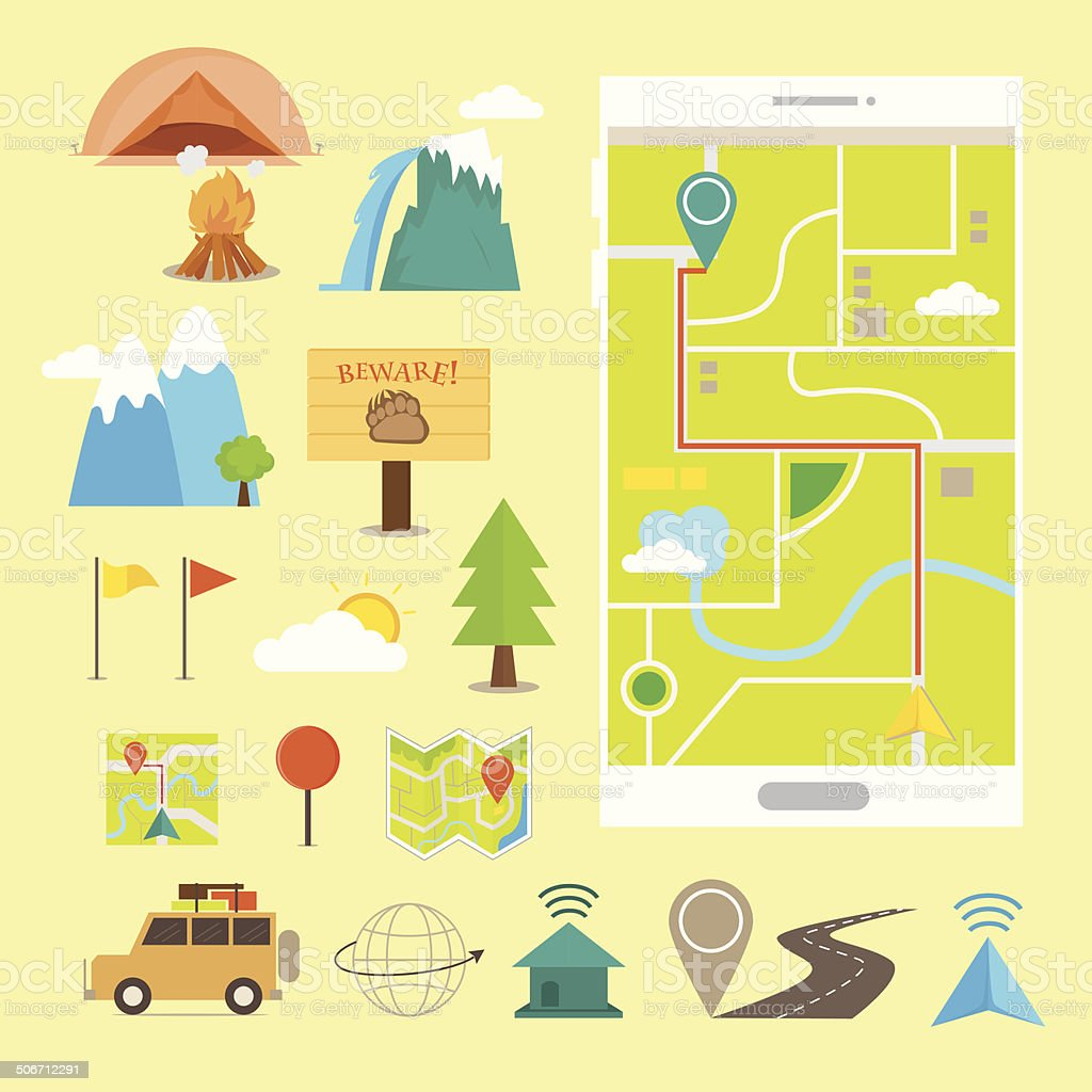 Travel and Navigation Flat Icons vector art illustration