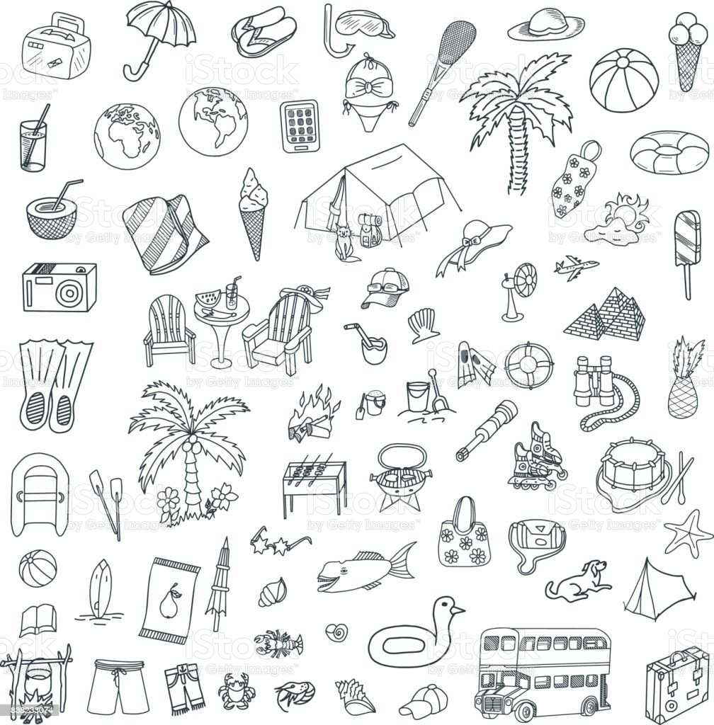 Travel and Sea Doodles Set