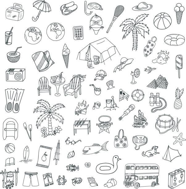 reisen und meer doodles set - sonnenstuhl stock-grafiken, -clipart, -cartoons und -symbole