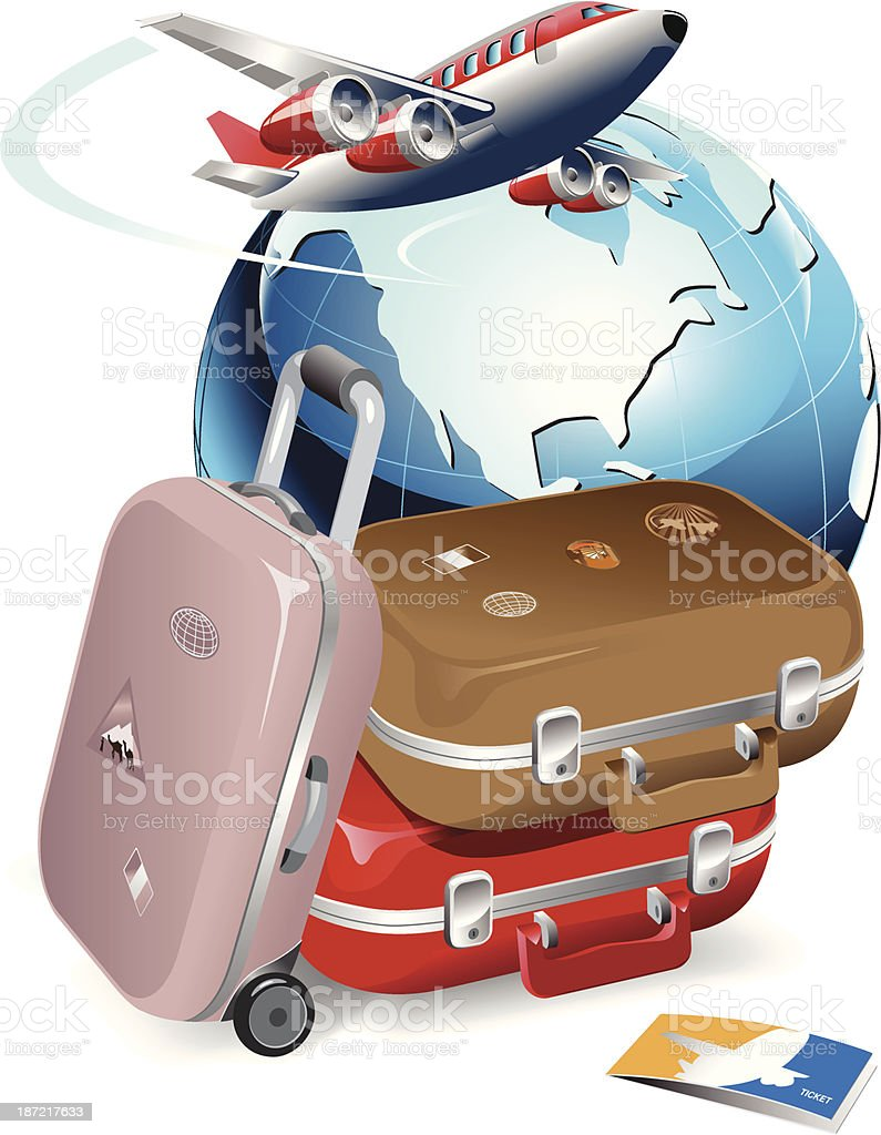 Travel and suitcase royalty-free stock vector art