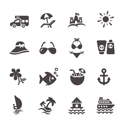 travel and summer beach icon set 2, vector eps10