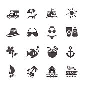 travel and summer beach icon set 2, vector eps10.
