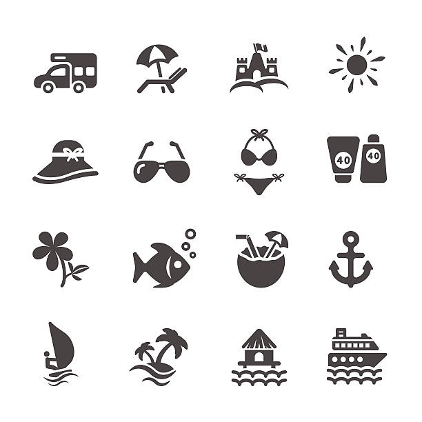 stockillustraties, clipart, cartoons en iconen met travel and summer beach icon set 2, vector eps10 - orthografisch symbool