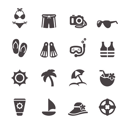travel and summer beach icon set 3, vector eps10