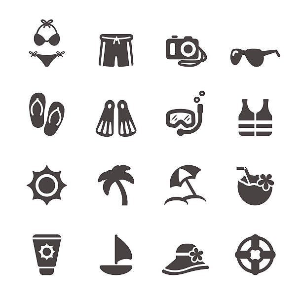 stockillustraties, clipart, cartoons en iconen met travel and summer beach icon set 3, vector eps10 - orthografisch symbool