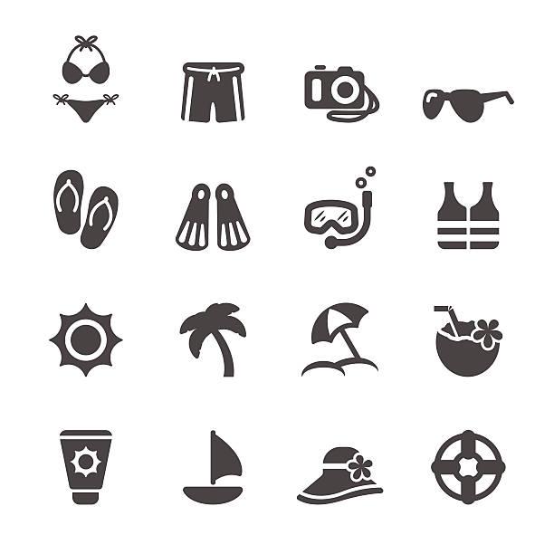 여행 및 여름 해변 아이콘 세트 3, 벡터 eps10이 포함됩니다 - 모자 모자류 stock illustrations