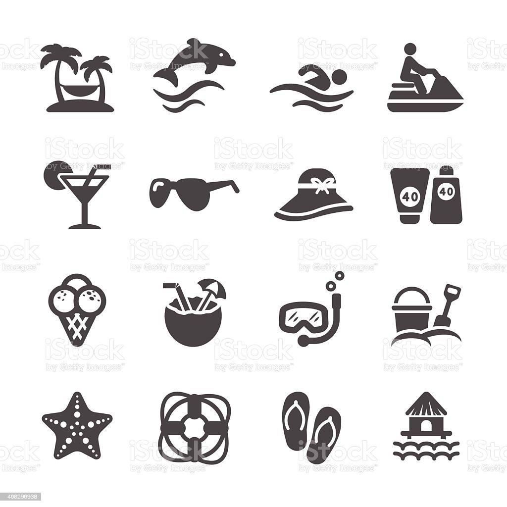 Podróże i lato Plaża zestaw ikon, Wektor eps10 - Grafika wektorowa royalty-free (2015)