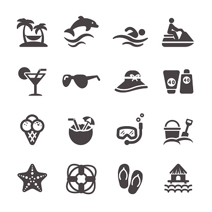 travel and summer beach icon set, vector eps10