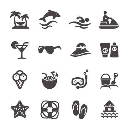 Podróże I Lato Plaża Zestaw Ikon Wektor Eps10 - Stockowe grafiki wektorowe i więcej obrazów 2015