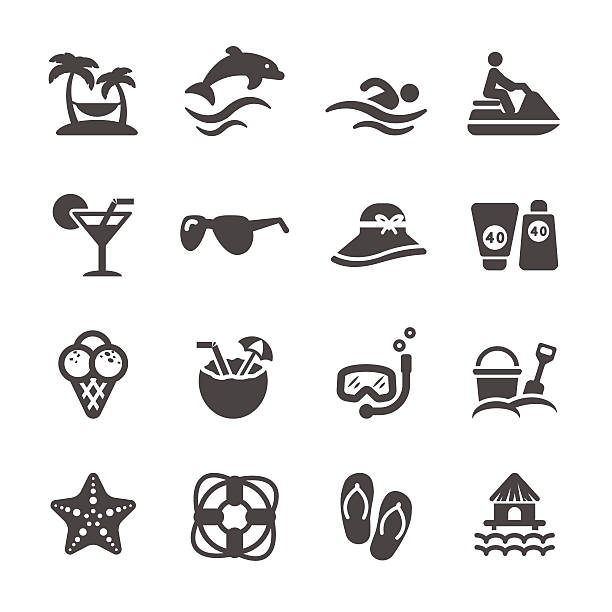 stockillustraties, clipart, cartoons en iconen met travel and summer beach icon set, vector eps10 - orthografisch symbool
