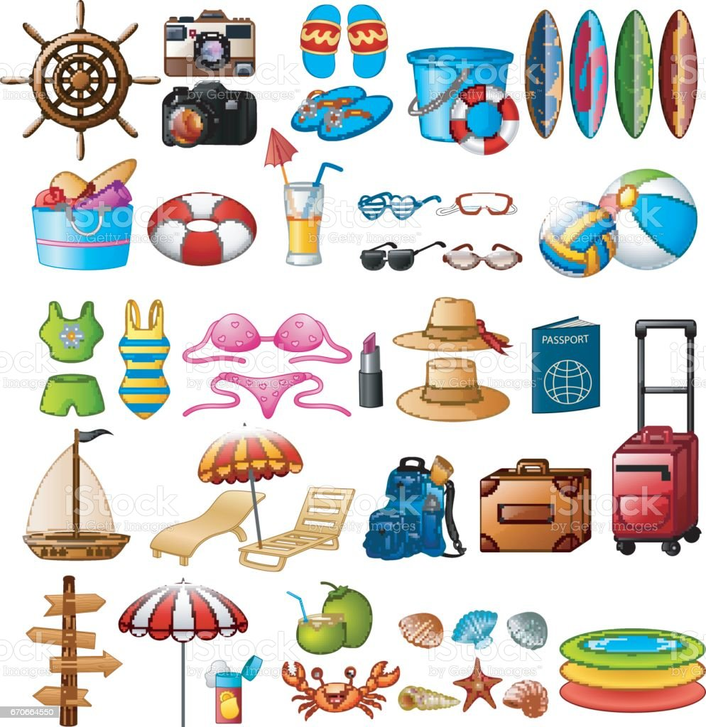 Travel and Summer holiday icon set vector art illustration