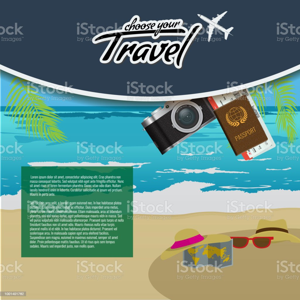 Travel And Tour Creative Poster Design With Realistic Airplane Beach Umbrella Passport Air