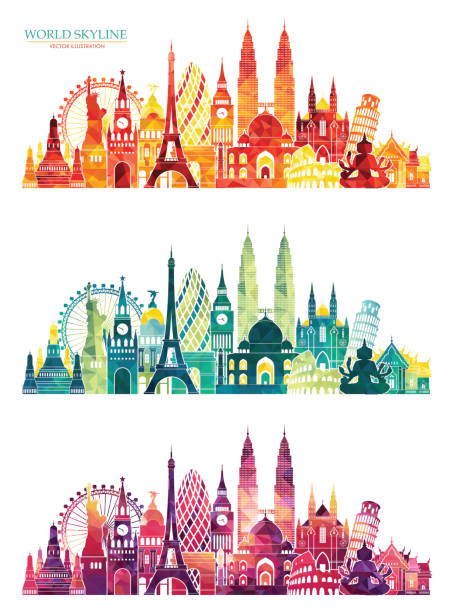 travel and tourism background. summer colorful background. vector illustration - uk travel stock illustrations, clip art, cartoons, & icons