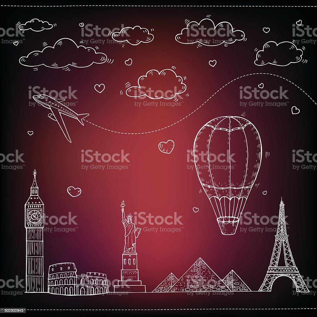 Travel and tourism background. vector art illustration