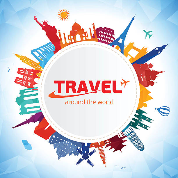 travel and tourism background - travel destinations stock illustrations