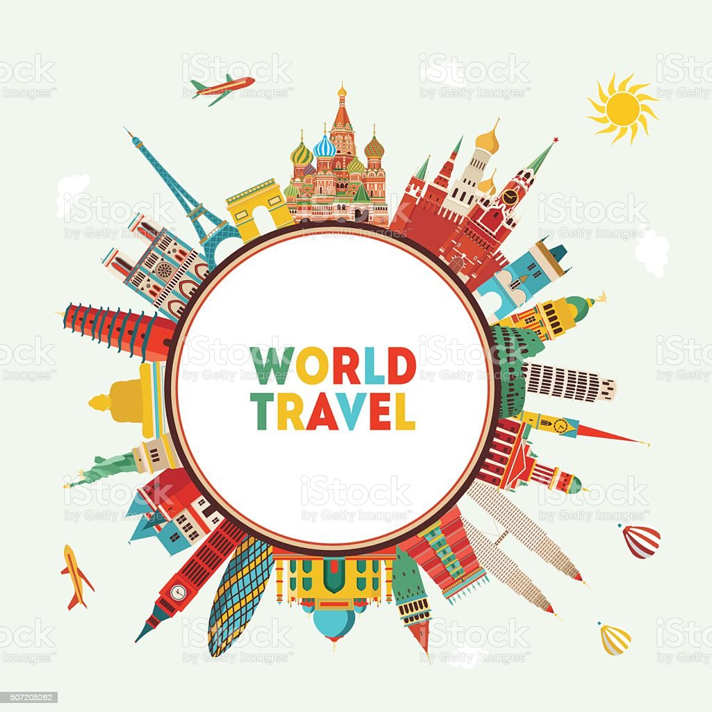 Travel And Tourism Background Vector Illustration stock ...