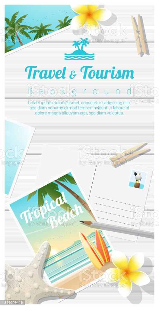 Travel and tourism background with tropical beach postcards on wooden board , vector , illustration vector art illustration