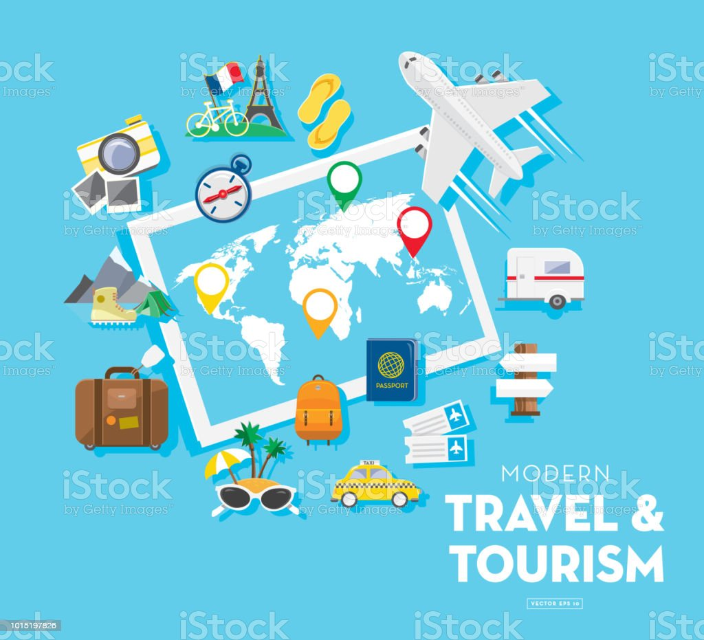 Travel and tourism banner design template with icon set