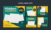 Travel, vacations and holidays social media banner collection