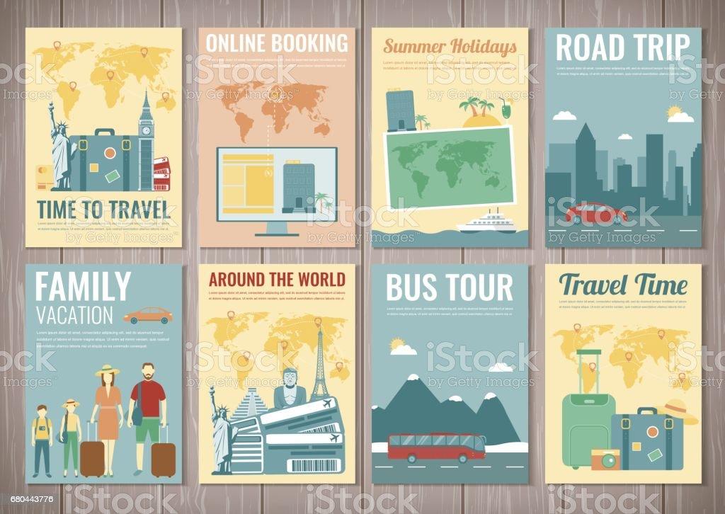 Reisen Und Tourismus Broschüre Eingestellt Vorlage Der Zeitschrift ...