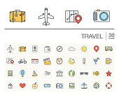 Travel and tourism color vector icons