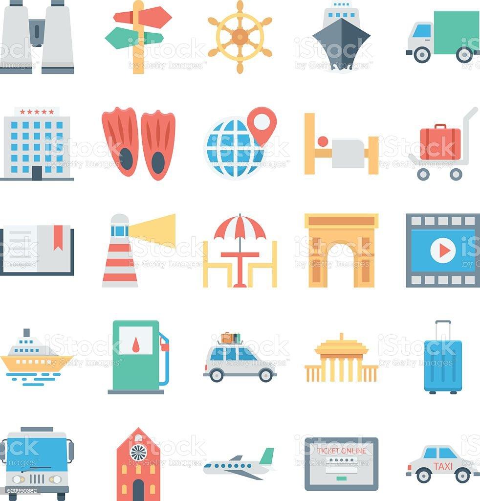 Travel and Tourism Colored Vector Icons 5 ilustração de travel and tourism colored vector icons 5 e mais banco de imagens de aparelho de videocassete royalty-free
